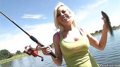 Hot blonde Britany goes out fishing