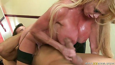 Sweaty milf sucks deepthroat and sits on dick