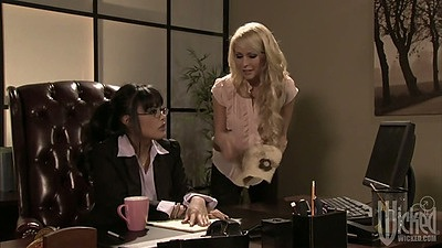 Amber Rayne in the office