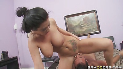 Big tits skank gets fucked doggy style and spreads ass