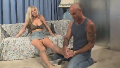 Fully clothed blonde with Michelle Barret foot fuck