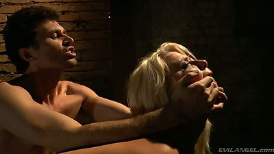 Stoya and Annika Albrite rough sex in the dungeon