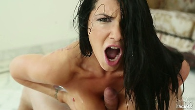 Titty fuck and licking the spit of big dick from Romi Rain in pov